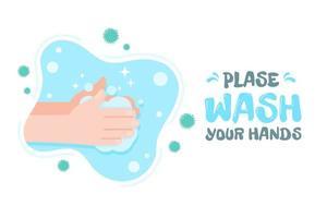 vector comics handen wassen met water en zeep om virussen te doden.