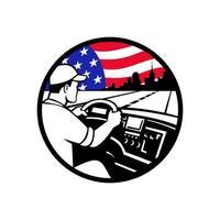 Amerikaanse vrachtwagenchauffeur rijden snelweg usa vlag cirkel mascotte embleem