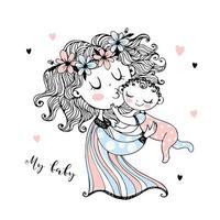 moeder houdt haar baby in haar armen. Moederdag. vector.