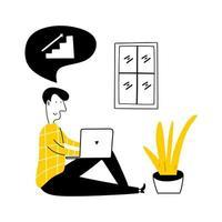 werk vanuit huis. een freelancer mannetje werkt achter een laptop thuis kantoor werkplek. vector