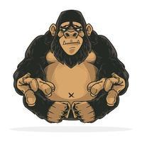 geweldige gorilla of aap handgetekend ontwerp vector