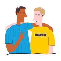 twee tienermannen omhelzen elkaar stripfiguren op een witte achtergrond. opgewonden, lachende jonge mannen, kantoorpersoneel, collega's, broers. concept van vriendschap. platte vectorillustratie