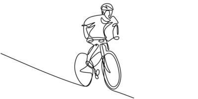 ononderbroken één regel fietser berijder op fiets. mannen fitness sport atleten fietsen. vector