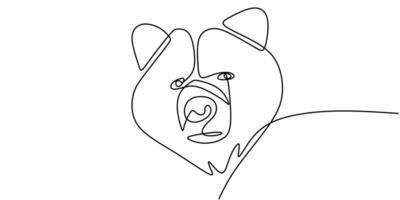 continue lijntekening van beer wilde dieren vectorillustratie. vector