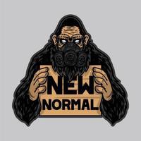 koele gorilla of aap gebruikt masker en houdt een nieuwe normale banner vast