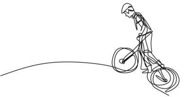 ononderbroken één regel jonge wielrenner man in een helm voert een truc op de fiets. vector