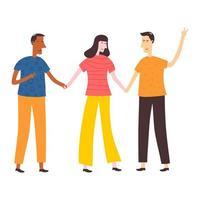 lachende tiener twee jongens en een meisje hand in hand elkaar met gelukkige uitdrukking. schoolvrienden staan samen. gelukkige studenten geïsoleerd op een witte achtergrond. platte cartoon vectorillustratie vector