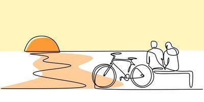 een lijntekening van paar zittend op het strand met fiets. vector