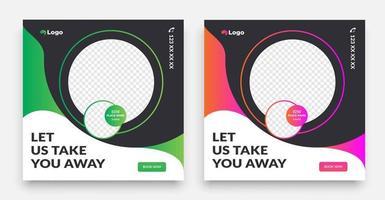 reizen social media postsjabloon met een cool typografieontwerpelement en trendy verloopkleuren met verkoop- en kortingsachtergronden. vector