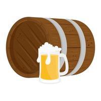 geïsoleerd bierglas met vat vector ontwerp