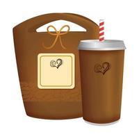 branding mockup coffeeshop, wegwerp met zak papier koffie vector