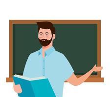 school man leraar met boek en groen bord vector ontwerp