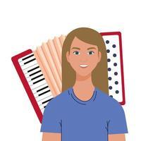 blonde vrouw cartoon voor accordeon vector design