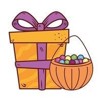 geschenkdoos aanwezig met snoepjes in pompoen op witte achtergrond