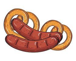 oktoberfest worsten met pretzels vectorontwerp
