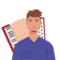 man cartoon voor accordeon vector ontwerp