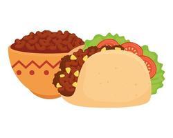 kom met heerlijke bonen en Mexicaanse taco op witte achtergrond vector
