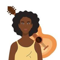 zwarte vrouw cartoon voor gitaar vector ontwerp