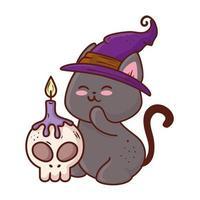 halloween, schattige zwarte kat met hoed heks en schedel met kaars vector