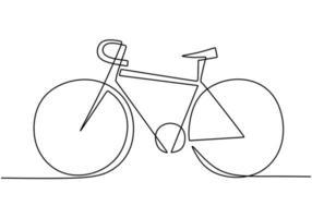 een lijntekening of ononderbroken lijntekeningen van klassieke fiets vectorillustratie.