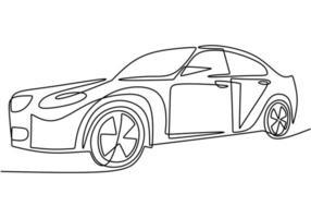 een enkele doorlopende lijntekening van een luxeauto. detailopname.