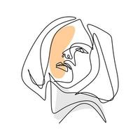 vector abstracte trendy illustratie van een lijntekening van de vrouw.