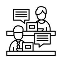 collega's mannen met laptops en bubbels lijn stijl pictogram vector design