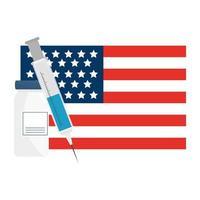 covid 19 vaccininjectie en fles op vectorontwerp van de vlag van de VS.