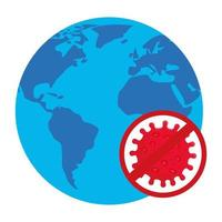 covid 19-virus met verbod en wereld vectorontwerp vector
