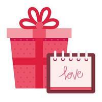 geschenkdoos aanwezig met geïsoleerde kalenderpictogram