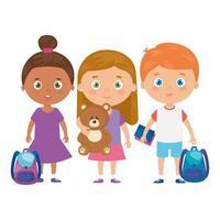 groep kleine kinderen met schooltas en speelgoed