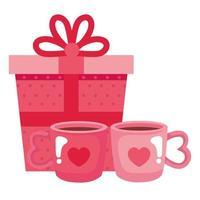 geschenkdoos met kopjes koffie geïsoleerde pictogram