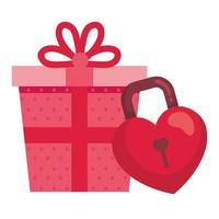 geschenkdoos met hangslot in vorm hart geïsoleerd pictogram