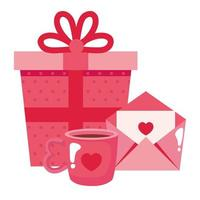 geschenkdoos met kopje koffie en envelop