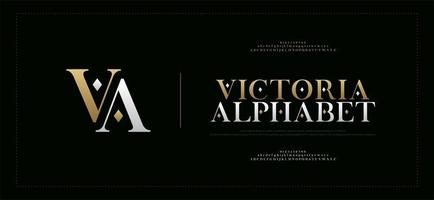 elegante alfabet letters serif-lettertype en cijferset vector