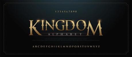 elegante gouden alfabet letters lettertypeset vector