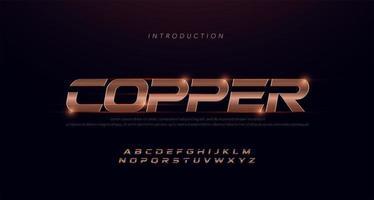 sport modern cursief alfabet koperen lettertype vector