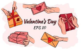 set van vector valentines.