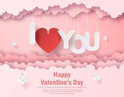 valentijnskaart met hangende tekst ik hou van je in de lucht, gelukkige valentijnsdag