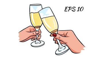 een paar glazen champagne in de hand.