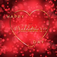 Valentijnsdag achtergrond met gouden hart en belettering