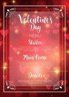 Valentijnsdag menu ontwerp