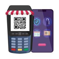 qr-code in datafoon en smartphone vectorontwerp vector