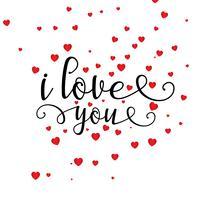 Valentijnsdag hart achtergrond met decoratieve tekst vector