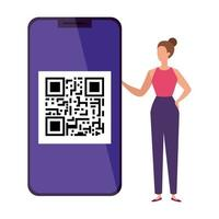zakenvrouw en smartphoneapparaat met scancode qr