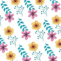 achtergrond van schattige bloemen en bladeren vector