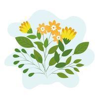 schattige bloemen met takken en bladeren
