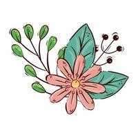 schattige bloem met takken en bladeren vector