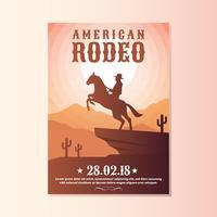 het wilde westen met rodeo van de cowboy toont vliegermalplaatjes