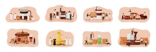 koffie cultuur platte concept vector illustratie set